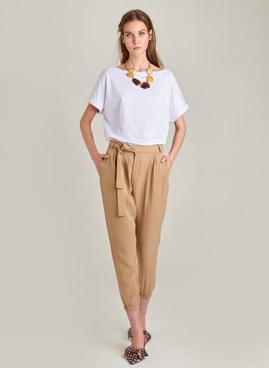 Monamoda Beli Lastikli Tencel Pantolon Taş